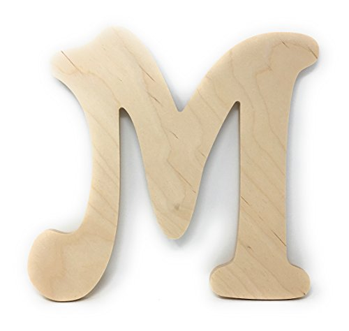 Gocutouts 12' Wooden M Unfinished Wooden Letters Paint Ready Wall Decor (12' Baltic Birch, M)