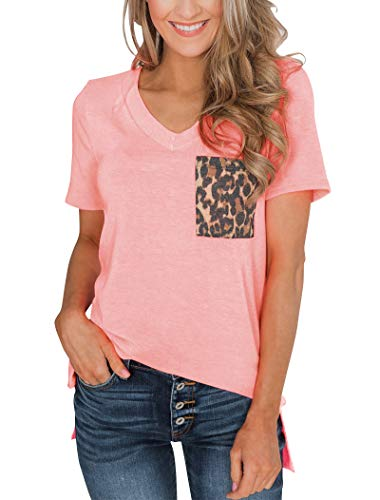 Minclouse Women's Summer Short Sleeves V Neck T Shirt Casual Basic Tops with Leopard and Sequin Pocket Pink