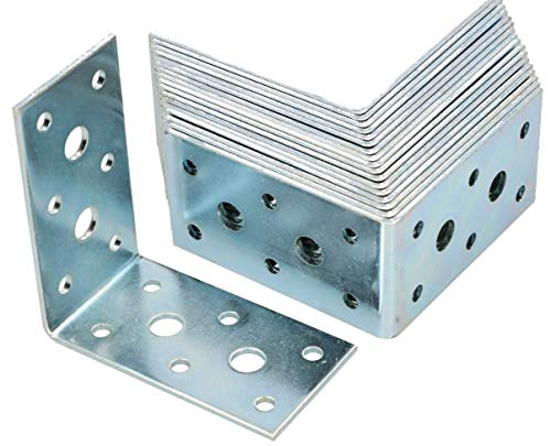 KOTARBAU Winkelverbinder 75 x 75 x 40 mm Stahl Bauwinkel Montagelöcher Möbelwinkel Verzinkt Schwerlast Holzverbinder Montagewinkel Stuhlwinkel (100)