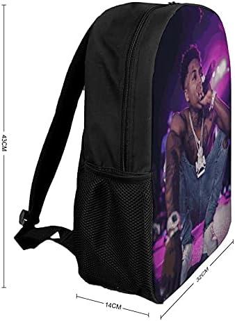 YoungBoy Never Broke Again Backpack,17 Inch Fashion Versatile Computer Bag Travel Bag Business Bag Large Capacity Light Unisex