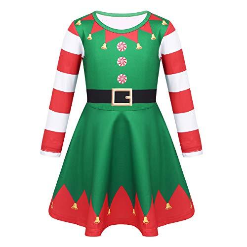 TiaoBug Disfraz Navidad de Elfa Duende Niñas de Fiesta Vestido Princesa Manga Larga Rayada Vestido Corto de Ceremonia Bautizo Niñas Verde&Rojo A 3-4 Años
