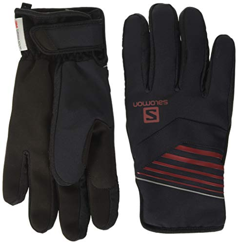 SALOMON RS Warm Glove U Guantes, Unisex Adulto, Black/Black/Red Dahlia, 2XL