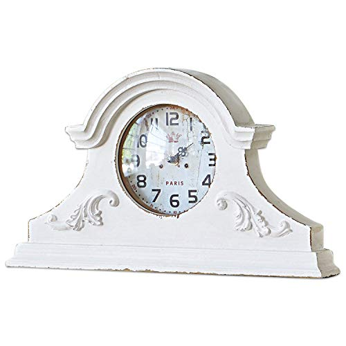 Loberon Uhr Andilly, MDF, Glas, Polyresin, H/B/T ca. 24/40.5/6 cm, antikweiß