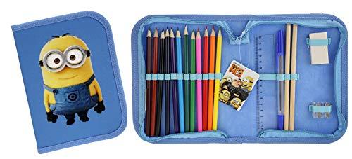 TrendyMaker Minions, Ich einfach unverbesserlich, Federmappe, Federmäppchen gefüllt, Buntstifte, Bleistifte, Kugelschreiber, Lineal, Radiergummi und Duospitzer