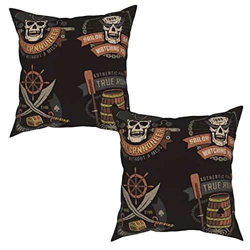 ZHIMI Juego 2 Fundas de Cojines,Emblema Pirata con Calaveras y Fondo de Texto de Textura,Funda Almohada Throw Pillow Case con Cremallera Oculta, para Coche Salón Dormitorio Oficina Decoración 45x45cm