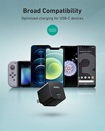 USB C Charger, AUKEY Minima Fast Charger with Foldable Plug, Ultra Compact USB C Wall Charger for iPhone 12/ 12 Mini/12 Pro Max, AirPods Pro, Samsung, Pixel 4-Black (Cable Not Included)