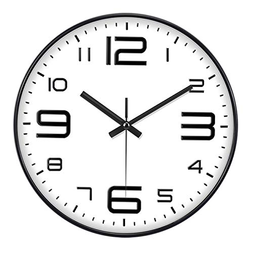 hufeng Reloj de Pared Breve Creativo Silencio Diseño Moderno Reloj de Pared Grande Relojes para el hogar Cocina Decoración de Sala de Estar Funciona con Pilas Silencioso (Marco Negro sobre Blanco)