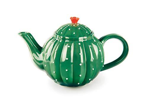 Excelsa Cactus tetera de cerámica, 650ML, Color Verde Oscuro