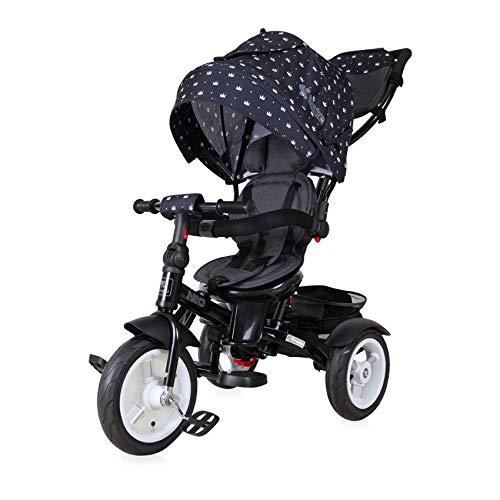 Lorelli Tricycle Neo 4 in 1 Luftreifen, Schiebestange, Sitz drehbar, verstellbar, Farbe:schwarz Krone