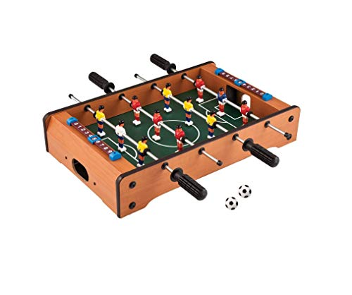 tec tavakkal 100% orignal wooden mid-sized foosball, mini football, table soccer game, 4 rods length 51cm , width 31cm, hight 10.5cm-Multi color