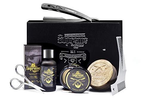 Bartpflege Set mit Rasiermesser ● Zedernholz Out Wood Holz Duft ● ORIGINAL BARTSTOPPEL© GERMANY ● Männer Geschenk Hochwertig