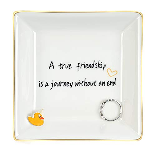 NY Best Friends Gifts for Women, A True Friendship Is A Journey Without An End Ceramic Ring Dish Jewelry Tray Birthday Gift for Women Friends Female Her BFF