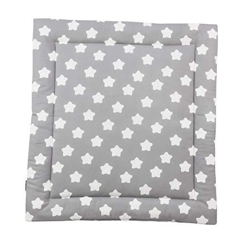 Puckdaddy Wickelauflage Finja - 65x75 cm, Wickelunterlage aus 100% Baumwolle mit Sterne und Pünktchen Muster in Grau, weiche Wickeltischauflage für Wickelkommoden, waschmaschinengeeignet