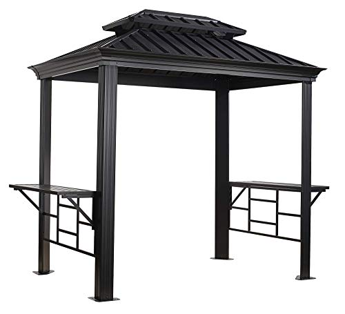 Sojag Outdoor 6' x 8' Messina Grill Steel Hardtop Gazebo with Shelving, Dark Grey