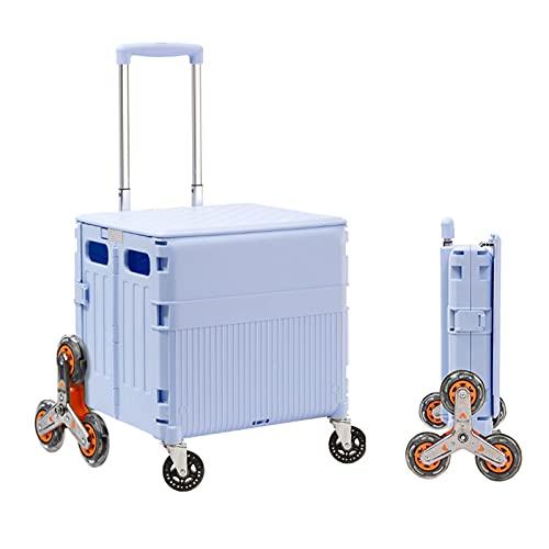 Carretilla con Caja Plegable Carrito de Compras portátil, Caja de Almacenamiento de automóviles Plegable, cajón de Escalada de 8 Ruedas (Color : Blue, Size : Large)
