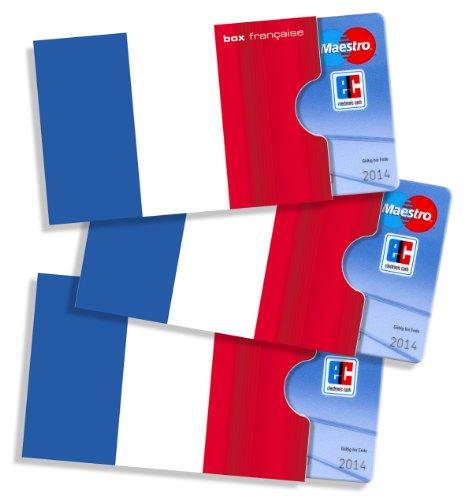 Frankreich - Karten-/Ausweishüllen cardbox /// Motiv: Frankreich Flagge/Französische Fahne /// 3er Set /// Kartenhüllen/Ausweishüllen