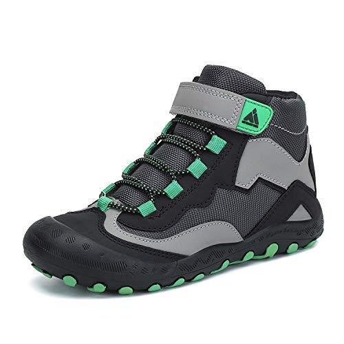 Mishansha Kids Boys Girls Water Resistant Hiking Boots Anti Collision Non Slip Shoes Black/Green