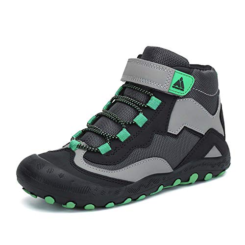 Mishansha Kids Boys Girls Water Resistant Hiking Boots Anti Collision Non Slip Shoes Black/Green