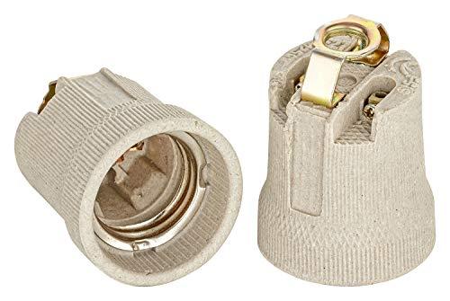 E27 Keramik Fassung mit Befestigungsbügel mit M10x1 Innengewinde Edison Gewinde RoHS bis 250V und 4A von ISOLATECH; (hier: 10 Stück)