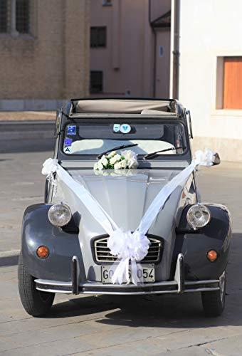 Kit COCCARDE Bianco   Decorazione Auto Matrimonio  Fiocchi Auto   Ideale per Auto CASA Nozze Battesimo Laurea Comunione Gran Fiocco