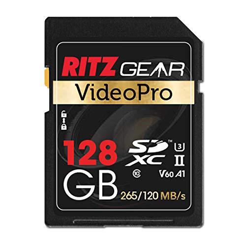 Ritz Gear Extreme Performance Video Pro - Tarjeta de memoria (128 GB, 4 K, 8 K, Ultra HD, SDXC U3, V60, A1, lectura de 265 MB/s, 120 MB/s)