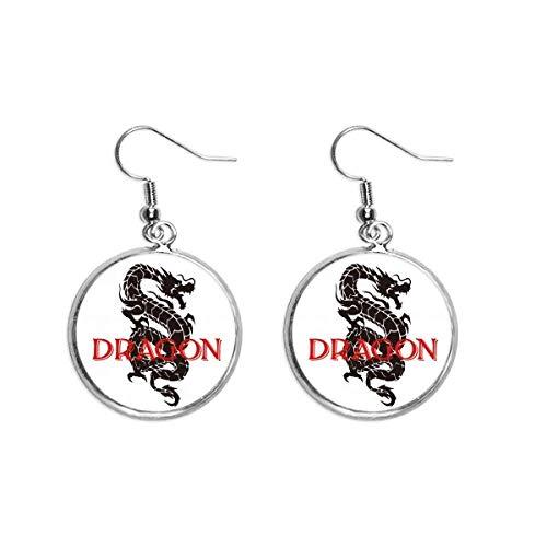 Orecchino a goccia in argento con ciondolo a forma di drago di animale