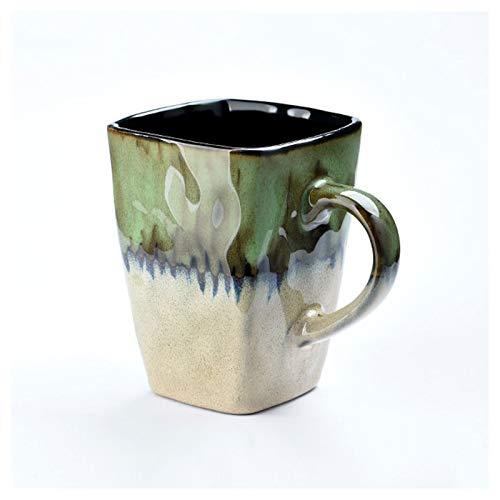 KGDC Tazas de Espresso Creative Retro Square Taza Nórdica Personalidad Cerámica Taza de Agua Oficina Taza de café con Tapa de la Tapa Taza de Desayuno 420ml Taza de té