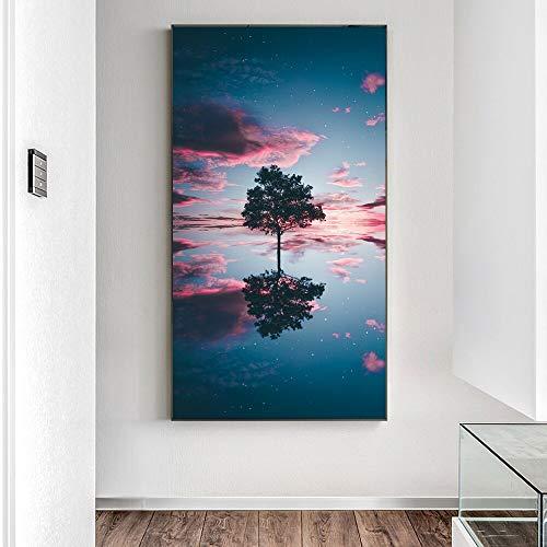 Reflexion auf dem See, Bäume, Leinwand, Plakate an der Wand, Leinwandmalerei, rahmenlose Malerei 30x60cm