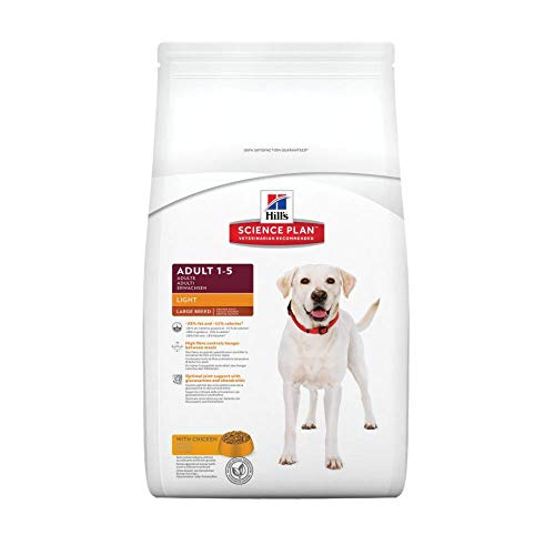 Hills Science Plan Light - Comida ligera (light) para perros adultos de razas grandes, con pollo (12 kg).