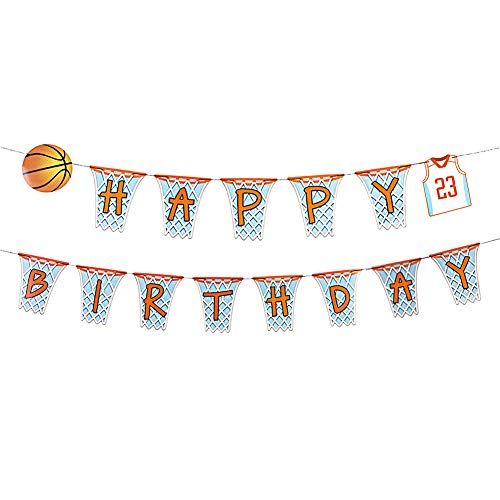 SUNBEAUTY Basketball Happy Birthday Girlande Geburtstag Banner