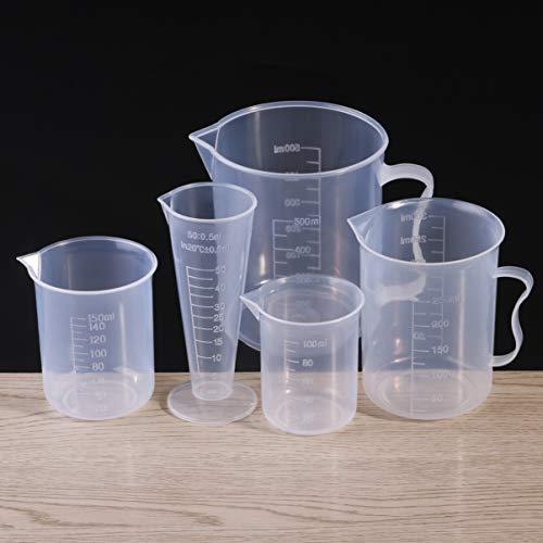 UEETEK Kunststoff Messbecher Becher Labs Becher mit Maßstab Mark,50ml 100ml 150ml 250ml 500ml,Set von 5