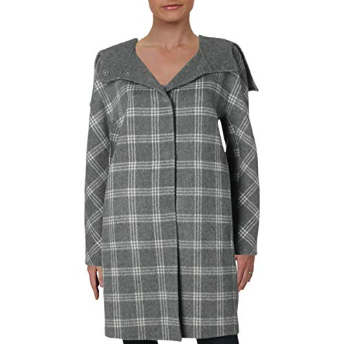Theory Womens Plaid Cashmere Blend Coat Gray S
