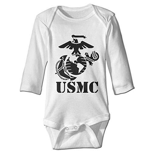 Klotr Baby Rompers, USMC Marine Unisex Long Sleeve Cotton Bodysuits Jumpsuit Climbing Clothes White