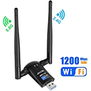 Netvip USB WiFi Adapter AC1200 Dual Band 5.8G 867Mbps/2.4G 300Mbps High Gain Dual 6dBi Antennas,Wireless Network USB 3.0 for Desktop/Laptop/PC,Works with Windows XP/Vista/7/8/10/Mac OS X
