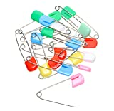 Shapenty 2 Inch Mix Colored Plastic Head Metal Baby Locking Safety Pins Craft Baby Kids Cloth Diaper Dress Socks Gloves Nappy Pins Hold Clip, 20PCS