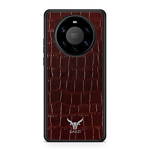 GAZZI Lederhülle für Huawei Mate 40 PRO Hülle Hülle Schale Backcover Handyhülle Schutzhülle Echt Leder, R&umschutz, Flexible Schale (Kroko Braun Silber)