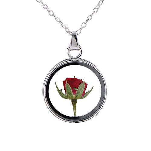 Richo Fashion Rose Necklace, Coin Rose Specimen Pendant Necklace Women Valentine's Day, Forever Love Jewellery Gift for Wife, Girlfriend, Mom, Sister