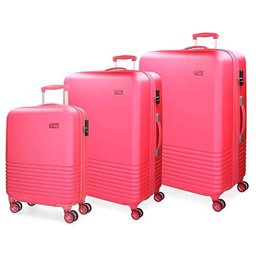 El Potro Ride Juego de maletas Rosa 55/70/80 cms Rígida ABS Cierre combinación 224L 4 ruedas dobles Equipaje de Mano