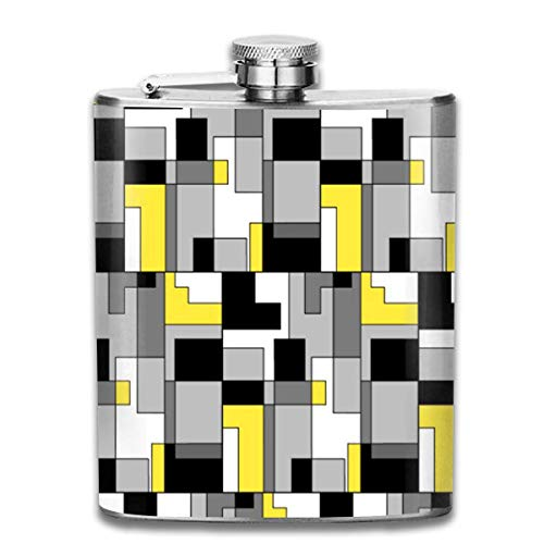 Presock Flachmann,Colorful Abstract Pattern (2) 7 Oz Printed Stainless Steel Hip Flask for Drinking...