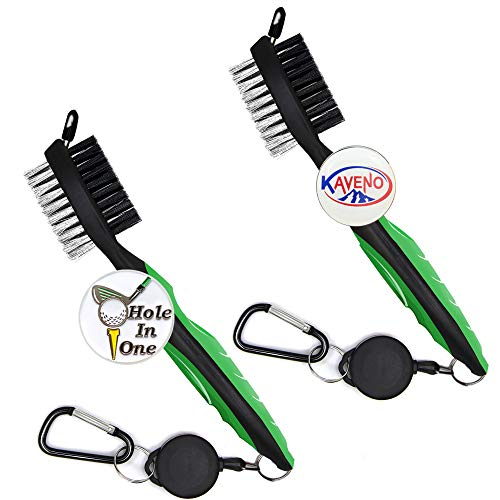kaveno Golf Club Brush and Club Groove Cleaner 2 Ft Retractable Zip-line Aluminum Carabiner, Lightweight and Stylish, Ergonomic Design, Easily Attaches to Golf Bag (Green 2pcs)