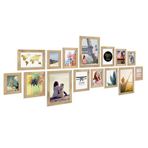 PHOTOLINI 15er Bilderrahmen-Collage Basic Collection, Modern, Eiche, Massivholz, inklusive Zubehör/Foto-Collage/Bildergalerie/Bilderrahmen-Set