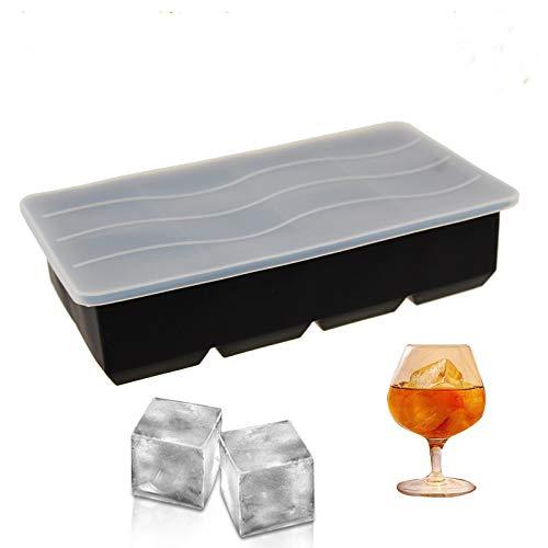 Eiswürfelformen Silikon mit Deckel, Ytesky XXL Eiswürfel Form Eiswürfelbehälter BPA Frei Eiswürfelbereiter 5 cm Große Eiskugeln Runde Eiskugelformer Ice Tray Ice Cube für Bier Cocktails Whisky(1)