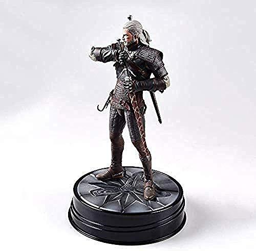 QPMZ Assistent Spiel Modell Geralt Jagd Dämon Wolf weißes Schwert Pose statische Vorbild PVC-Material 24cm Chassis Dekoration Büro Dekoration