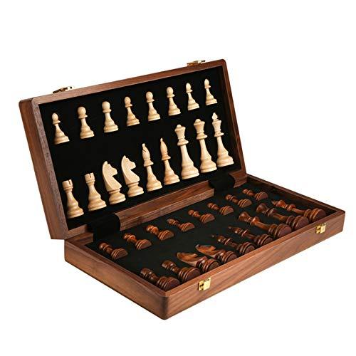 Cutfouwe Juego Profesional de ajedrez de Madera, Plegable Lujo Tablero Plegable Juego táctico clásico Juguetes educativos Regalo de Negocio,15.3in