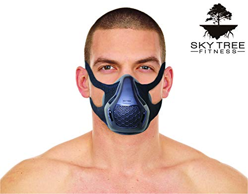 Sky Tree Fitness Training Mask High Altitude Resistance Workout Mask for MMA Running and Cardio  A Fitness Mask That Includes a Free Carrying Case Black Adjustable