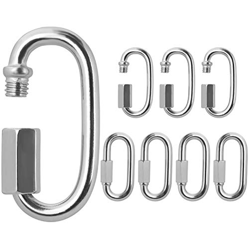 BELLE VOUS Stainless Steel Screw Quick Link M6 Carabiner Chain Connectors 8 Pack 59cm232 inches Heavy Duty Oval D Shape Locking Clips for OutdoorsIndoors Camping Hiking Accessories