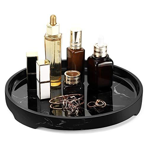 MoKo Taca na toaletkę, okrągła taca z żywicy dekoracyjna organizer taca do przechowywania akcesoriów do wanny zbiornik na toaletę sypialnia kredens kosmetyki biżuteria salon blat kuchenny, czarny atrament