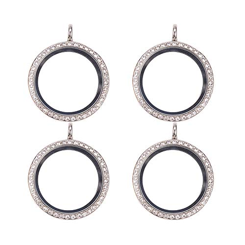 WANDIC Rhinestone Photo Charm, 4 Pcs Silver Color Round Crystal Photo Pendant Bridal Wedding Bouquet Charms Memory Lockets for 2 Pictures