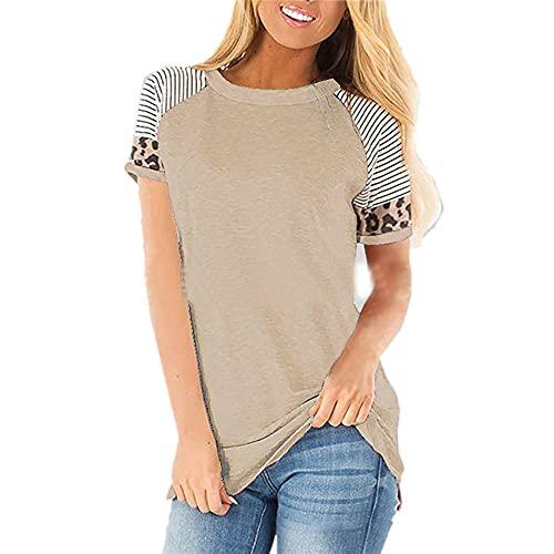 T-Shirt Mujer Comodidad Cuello Redondo Rayas Empalme De Leopardo Diseño De Moda Mujer Camisa Vacaciones Generosas Casual Personalidad Juguetona Nuevas Mujeres Tops J-Khaki XL