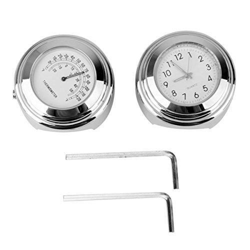 Winomo 2 Stück Uhr und Thermometer für Motorradlenker 7/8 Zoll 1 Zoll nachtleuchtend wasserdicht für Harley Honda Yamaha Suzuki Kawasaki